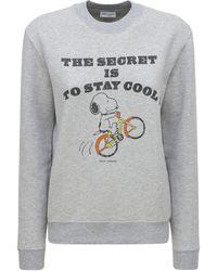 Saint Laurent Snoopy コットンブレンドスウェットシャツ - グレー