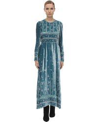 Luisa Beccaria Long Embroidered Velvet Dress - Blue