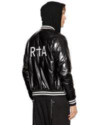RTA Logo Embroidered Shiny Bomber Jacket - Black