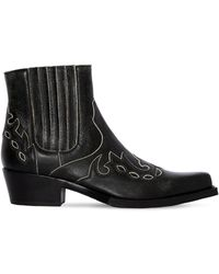 CALVIN KLEIN 205W39NYC Cal Cavert Leather Ankle Boots - Black