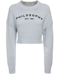 Philosophy Di Lorenzo Serafini コットンブレンドニットセーター - ブルー