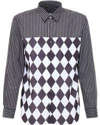 Comme des Garçons Patchwork コットンポプリンシャツ - ブラック
