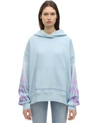 Amiri Oversized Embroidered Printed Cotton-jersey Hoodie - Blue