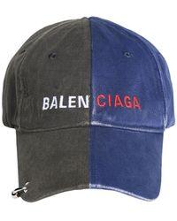 "Balenciaga Baseballkappe Aus Baumwolle Mit Piercing ""50/50"" - Blau"