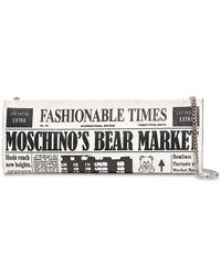 Moschino Journal レザークラッチバッグ - グレー