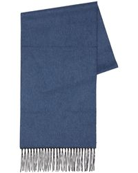 Corneliani Logo Silk & Cashmere Scarf - Blue