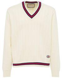 Gucci Cotton Knit V-neck Jumper W/ Web - White