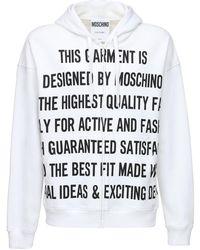 Moschino Slogan Print Zip-up Regular Hoodie - White
