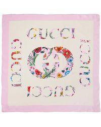 Gucci Шелковый Шарф Flora Vintage - Белый