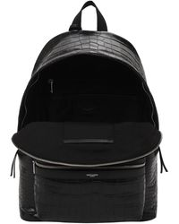 Saint Laurent Кожаный Рюкзак С Крокодиловым Тиснением - Черный