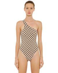 MISBHV Monogram One Piece Swimsuit - Natural