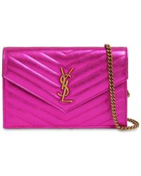 Saint Laurent - Small Quilted Metallic Leather Bag - Lyst