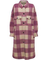 Étoile Isabel Marant Fontizi Check Felted Long Shirt Coat - Pink