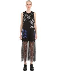 Natargeorgiou - Neoprene & Tulle Embroidered Dress - Lyst