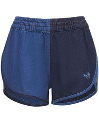 adidas Originals Shorts Aus Denim Mit Logo - Blau