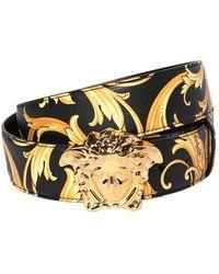 Versace 40mm Reversible Baroque Leather Belt - Black