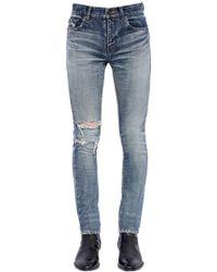 Saint Laurent - Jeans Skinny De Denim Desgastado 15cm - Lyst