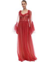 Sandra Mansour Vestido Midi De Tul Glitter - Rojo
