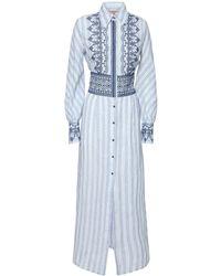 Ermanno Scervino リネンシャツドレス - ブルー