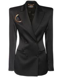 Versace Zweireihige Jacke Aus Stretch-enverssatin - Schwarz
