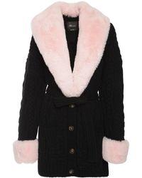 Blumarine Wool Knit Cardigan W/ Faux Fur - Black
