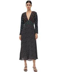 RIXO London Длинное Платье Из Вискозного Крепа - Черный