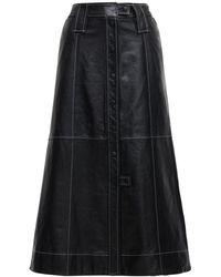 Ganni レザースカート - ブラック