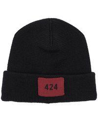 424 Cappello In Lana A Costine - Nero