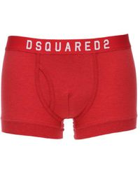 DSquared² Logo Cotton Jersey Boxer Briefs - Red