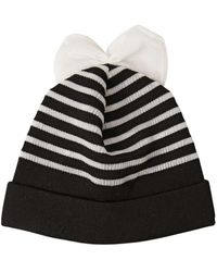 Federica Moretti Striped Cotton Blend Beanie Hat With Bow - ブラック