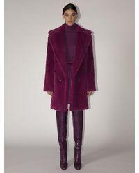 Max Mara Lvr Exclusive Adenia Alpaca Teddy Coat - Purple