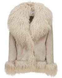 Saks Potts Bon Short Shearling Jacket - Natural