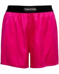 Tom Ford Minishorts Aus Seidensatin Mit Logo - Pink