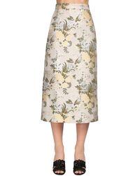 Brock Collection Flower Jacquard Silk Blend Midi Skirt - Natural