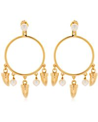 Eshvi - Charms Hoop Ear Jacket Earrings - Lyst