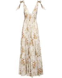 Brock Collection Vestido Largo De Popelina Con Estampado Floral - Neutro