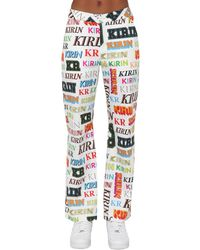 Kirin Logo Printed Drill Wide Leg Pants - Multicolor