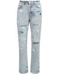 Amiri Jeans De Denim De Algodón Desgastados 19cm - Azul