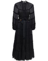 Zimmermann Ярусное Платье Миди - Черный