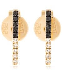 EF Collection - 2tone Diamond Bar Stud Earrings - Lyst