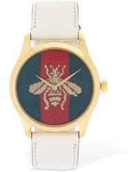 Gucci Bee 刺繍 レザー腕時計 - マルチカラー