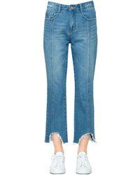 Steve J & Yoni P Boyfriend Destroyed Hem Denim Jeans - Blue
