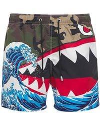 Mc2 Saint Barth Shark Attack Print Camo Tech Swim Shorts - Multicolour
