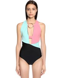 Fausto Puglisi - Color Block Lycra Bodysuit W/ Front Ring - Lyst