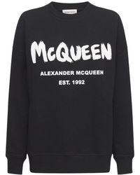 Alexander McQueen Свитшот Из Хлопкового Джерси - Черный