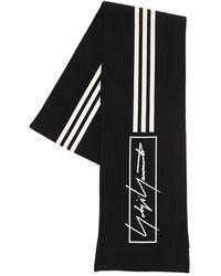 Y-3 3 Stripes Cotton Blend Knit Scarf - Black