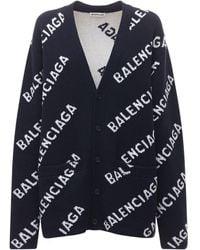 Balenciaga Logo Wool Knit Cardigan - Blue