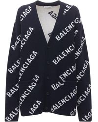 Balenciaga Кардиган Из Шерстяного Трикотажа С Логотипом - Синий