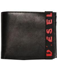 DIESEL - Leather Wallet W/ Broken Logo Elastic - Lyst