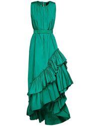 Max Mara Asymmetric Ruffled Taffeta Dress - Green